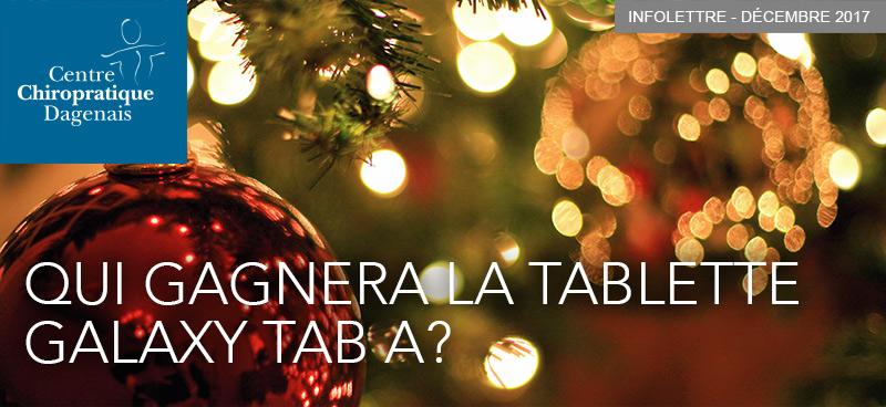 Décembre 2017 : Qui gagnera la tablette Galaxy TAB A